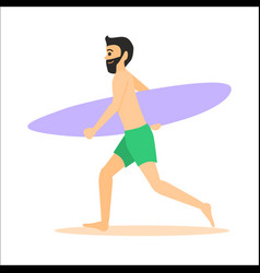 Surfer run with surfboard vector