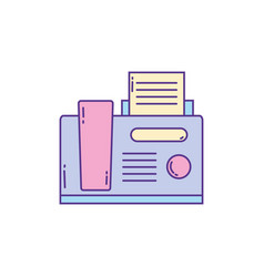 telephone and fax phone fill and line vector image