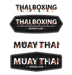 Thai boxing with muay thai action on flat big vector