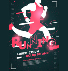 typographic running poster template with runner vector image