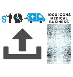 Upload Icon with 1000 Medical Business Pictograms vector image