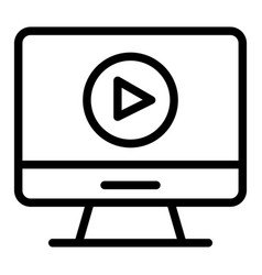 video player on monitor line icon computer screen vector image