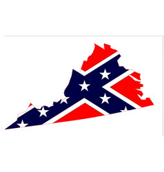 Virginia map and confederate flag vector
