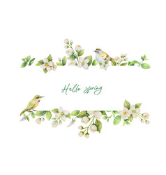 Watercolor banner with bird and flowers vector