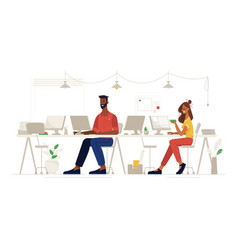 work office people social distance at workplace vector image