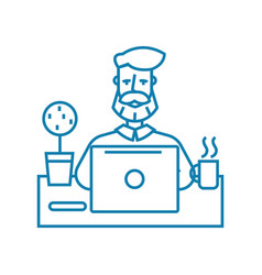 working atmosphere linear icon concept working vector image