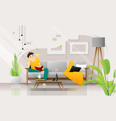 Young man sitting on sofa and reading a book vector