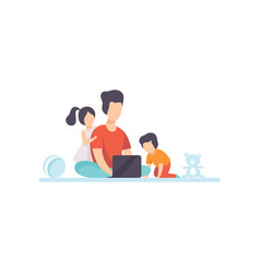 young mother sitting on floor and working on vector image