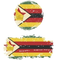 Zimbabwean round and square grunge flags vector image