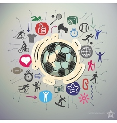 Hand drawn sport icons set and sticker with soccer vector image