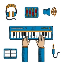 Musical and sound recording icons vector image vector image