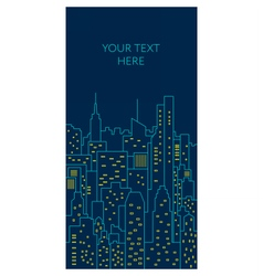Night cityscape flat line Template vector image