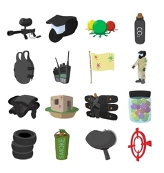 Paintball game cartoon icons set vector image vector image