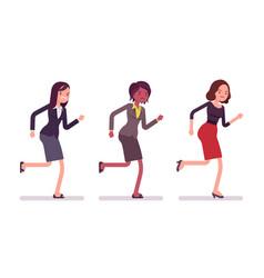 runnig businesswomen in formal wear vector image vector image