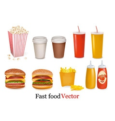 big group of fast food product vector image