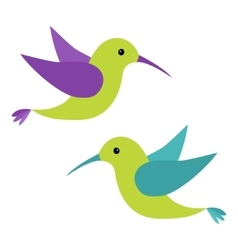 Colibri flying bird icon set Cute cartoon vector image vector image