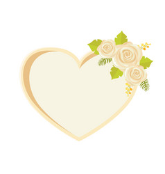 frame with rose flowers heart shape border vector image