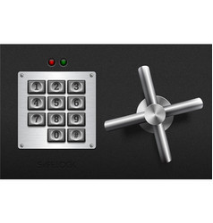 realistic safe lock metal element on textured vector image vector image