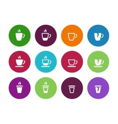 set of coffee cup circle icons vector image