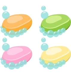Set of Soap Bar With Bubbles - vector image
