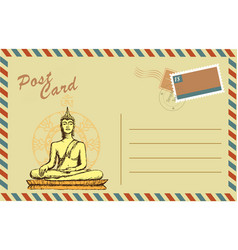 Vintage postcard with buddha in meditation vector