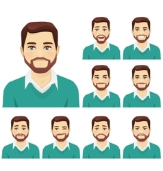 Beard man expression set vector image vector image