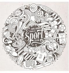 cartoon cute doodles hand drawn sport vector image vector image
