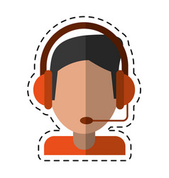 cartoon video gamer with headset vector image