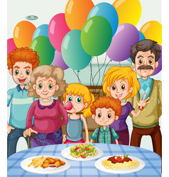 Family having party at home vector
