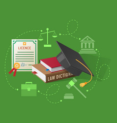 Lawyers licence books on law and academic hat vector