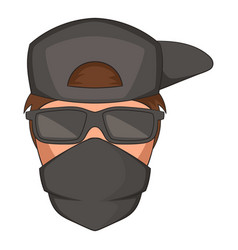 man in black glasses and scarf on his face icon vector image