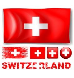 Switzerland flag in different designs vector image
