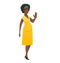 african-american pregnant woman showing palm hand vector image