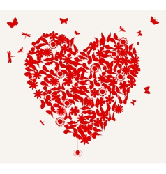 butterflies and flower heart vector image vector image