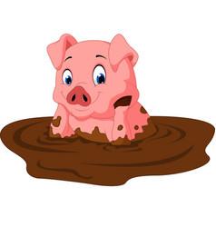 cartoon funny pig sitting vector image