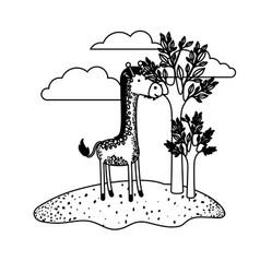 giraffe cartoon in outdoor scene with trees and vector image