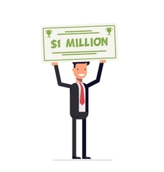 Happy businessman or manager holding large check vector