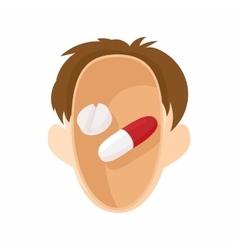 Pills in human head icon cartoon style vector image vector image