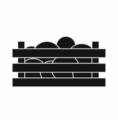 Watermelons in wooden crate icon simple style vector