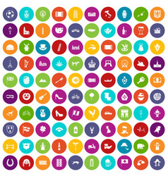 100 europe icons set color vector image