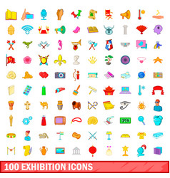 100 exhibition icons set cartoon style vector