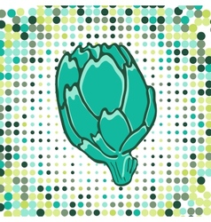 A colorful of fresh artichoke with vector image