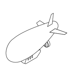 Airship icon in outline style isolated on white vector