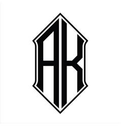 Ak logo monogram with shieldshape and outline vector