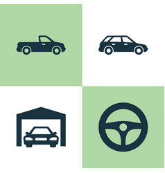 Automobile icons set collection of carriage vector