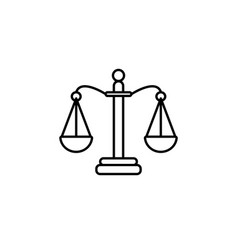 balance scales line icon black on white background vector image
