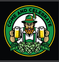 Bearded bavarian man badge with beer and hops vector