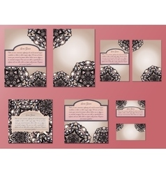 Beige and pink set of brochures flyers vector