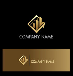 business arrow building gold logo vector image