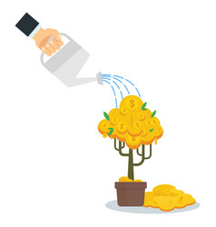 Businessman watering money tree vector